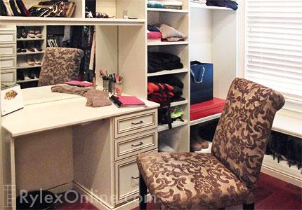Bedroom Closet With Vanity Table Rylex Custom Cabinetry