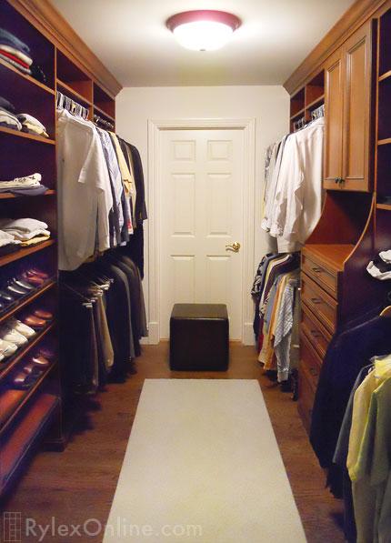 Men S Walk In Bedroom Closet Closet Hutch Open Shelves