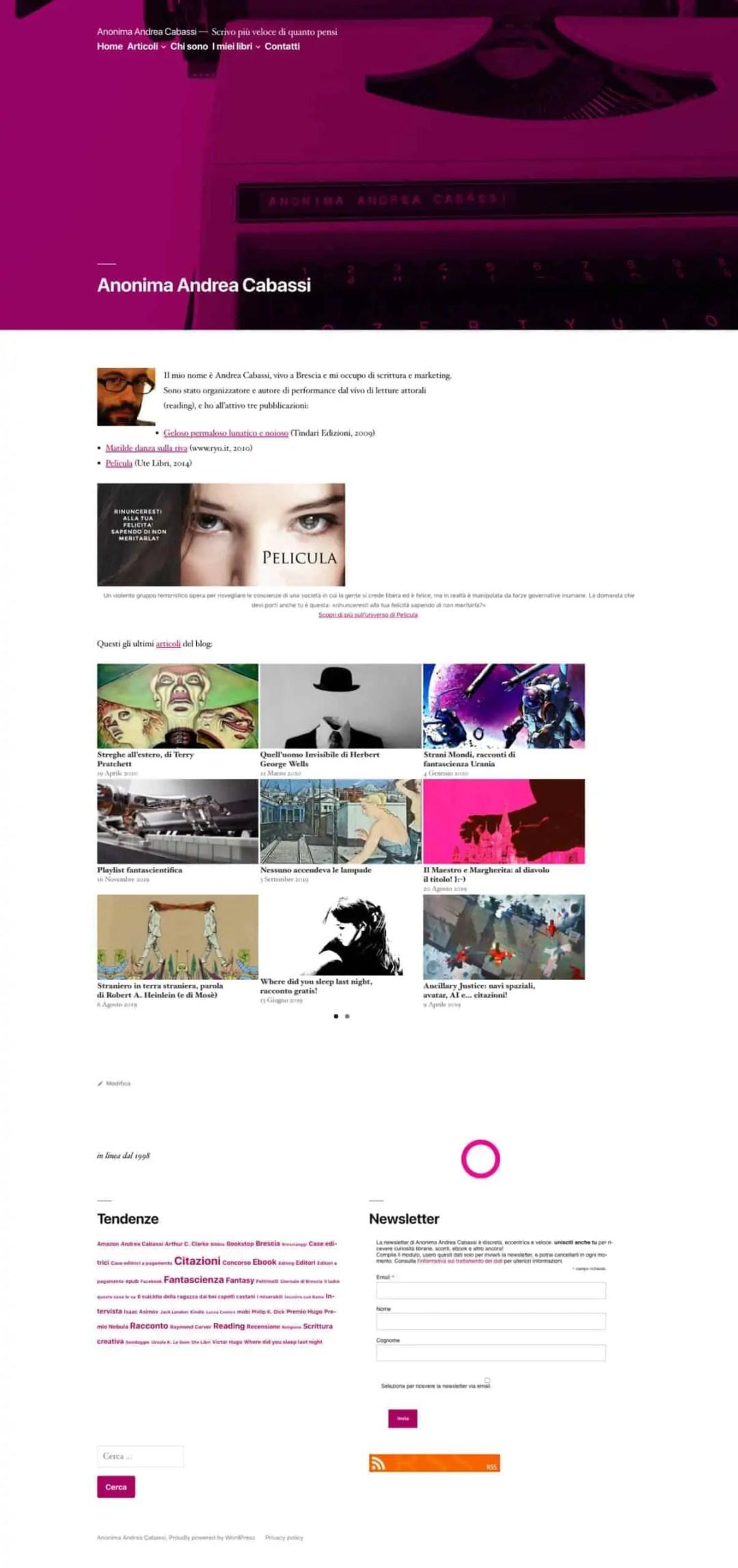 Homepage Anonima Andrea Cabassi 2019