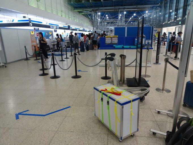 輪行箱とともに大阪空港到着