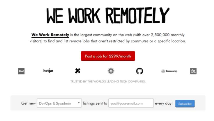 Remote Jobs Websites We Work Remotely