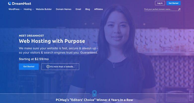 Provider di hosting Web con fatturazione mensile Dreamhost per blogger su WordPress
