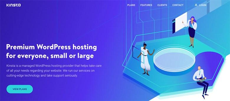 Homepage di Kinsta per piani di hosting Web con fatturazione mensile