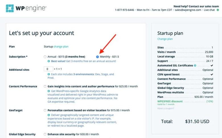 Schermata del motore WP per la selezione dell'opzione del piano di hosting mensile per l'avvio