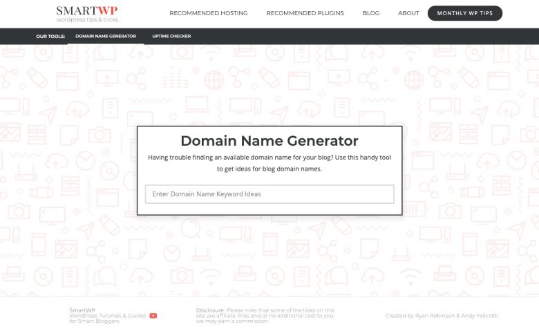 Generatori di nomi di dominio di SmartWP Trova idee di nomi di dominio intelligenti