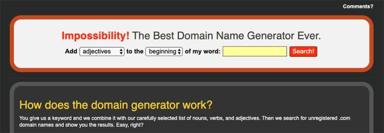 Generatore di nomi di dominio impossibilità