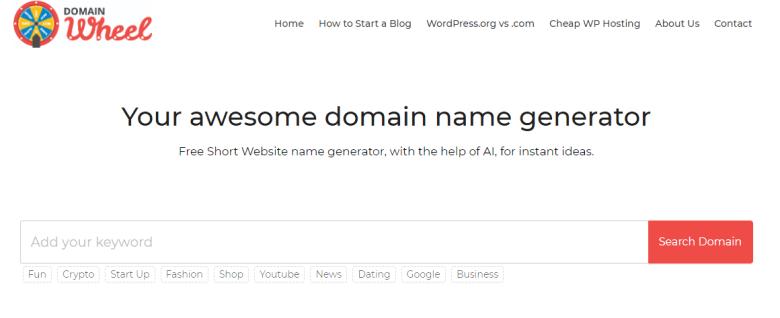 Generatori di nomi di dominio di Domain Wheel È possibile utilizzare