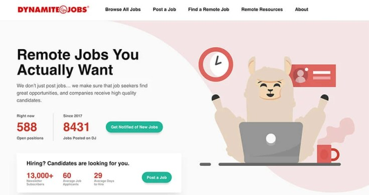 Dynamite Jobs Homepage Screenshot (Remote Jobs Listings)