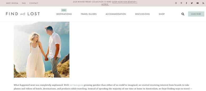 Trovaci persi sulla pagina e sulla storia della monetizzazione del loro blog di viaggio