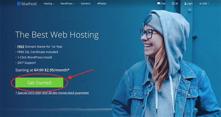 Hosting Bluehost per il tuo blog di viaggio (schermata della pagina di iscrizione)