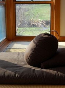 Photo of a zafu by a window