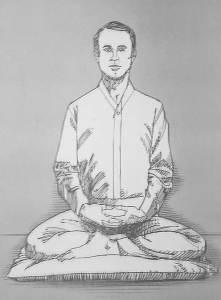 Illustration of man in Burmese posture