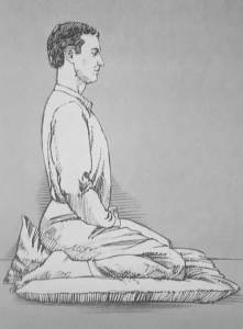 Illustration of man sitting in Japanese posture