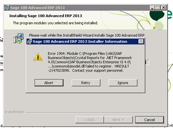 Error 1904 commonobjmodel.dll failed to register - HRESULT -2147023898 When Installing Sage 100 ERP (SOLVED)
