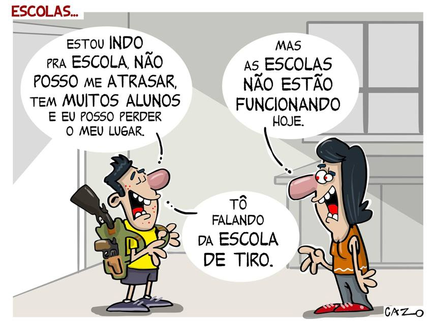 Charge do dia – Escolas - Cazo