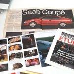 """Uusi Saab Coupe 1994 + """"Vain yksi syy valita täysin uusi Saab 900"""" + """"Tietoja ja etuja"""" NG900 -paketti. 7 €."""