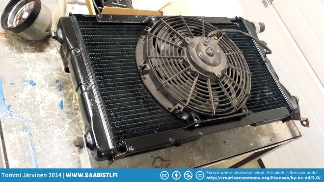 A Saab 99 bigger radiator will replace the stock V4 radiator.
