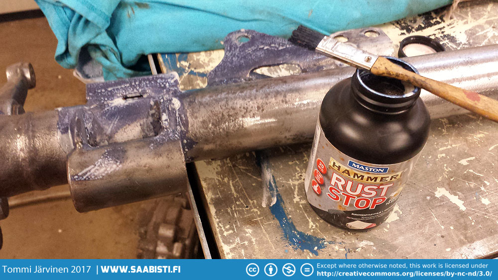 The rust was removed mechanically from the rear axle but as it had some pitting that was not cleaning out properly, I used rust converter to stabilize what ever little rust was left.