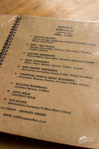 The Menu at 1000 Cups Coffee House