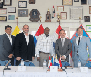 Delegation leaders to the summit, standing from left: Commissioners Clark Abraham (Bonaire), Chris Johnson (Saba) and Reginald Zaandam(Statia), with Reinder Ganzevoort (First Chamber) and Jeroen Recourt (Second Chamber).