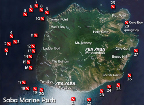 dive sites sea saba