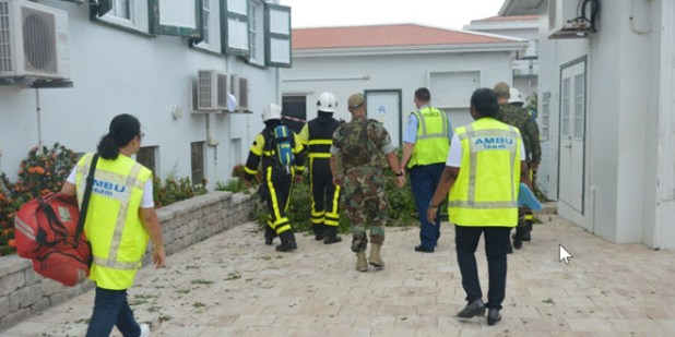 exercise at the Saba Comprehensive School, with persons from the Dutch Military, KPCN, Brandweer Saba and the Ambulance Team Photo GIS Saba