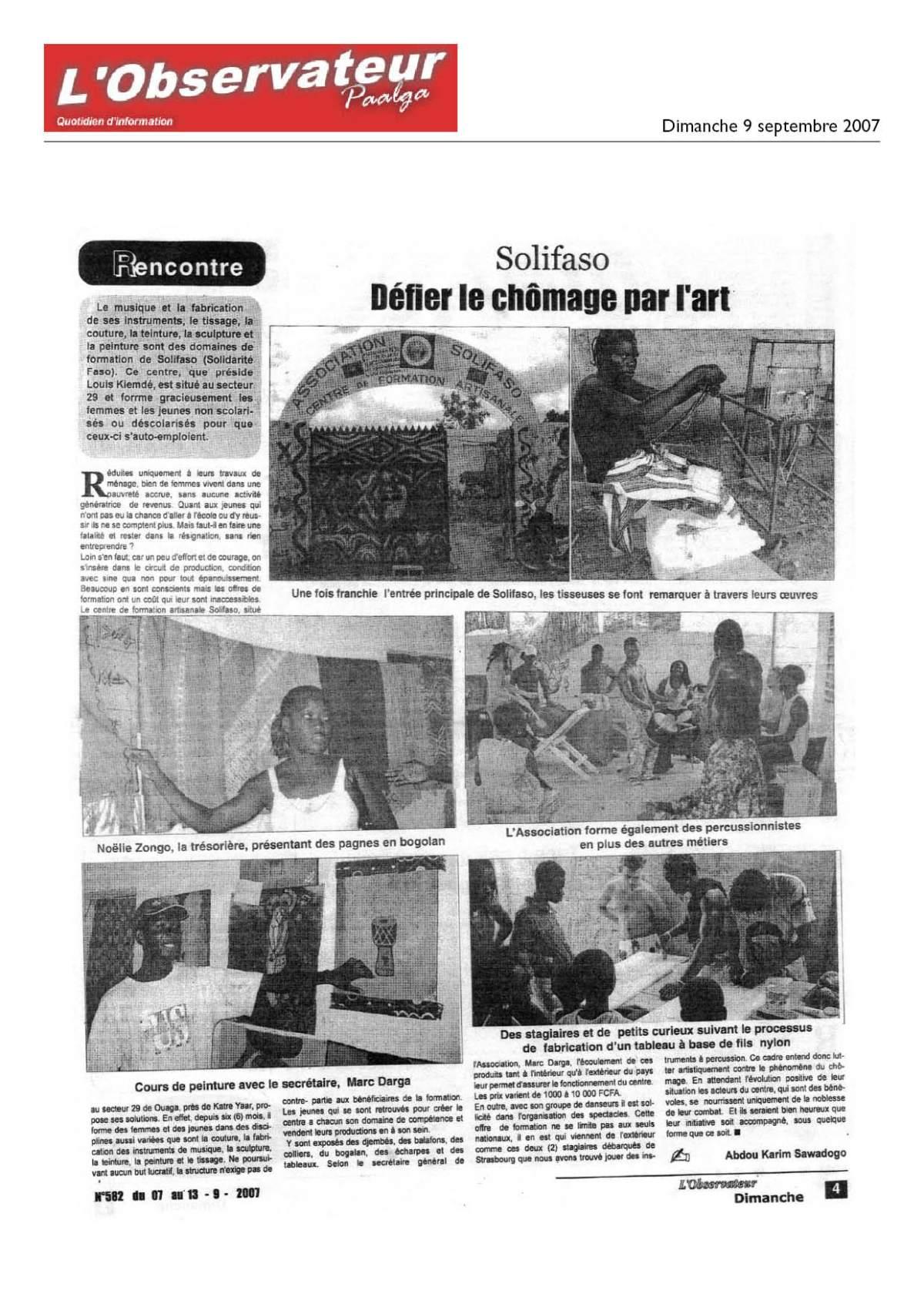 Article de l'Observateur au centre Solifaso au Burkina Faso