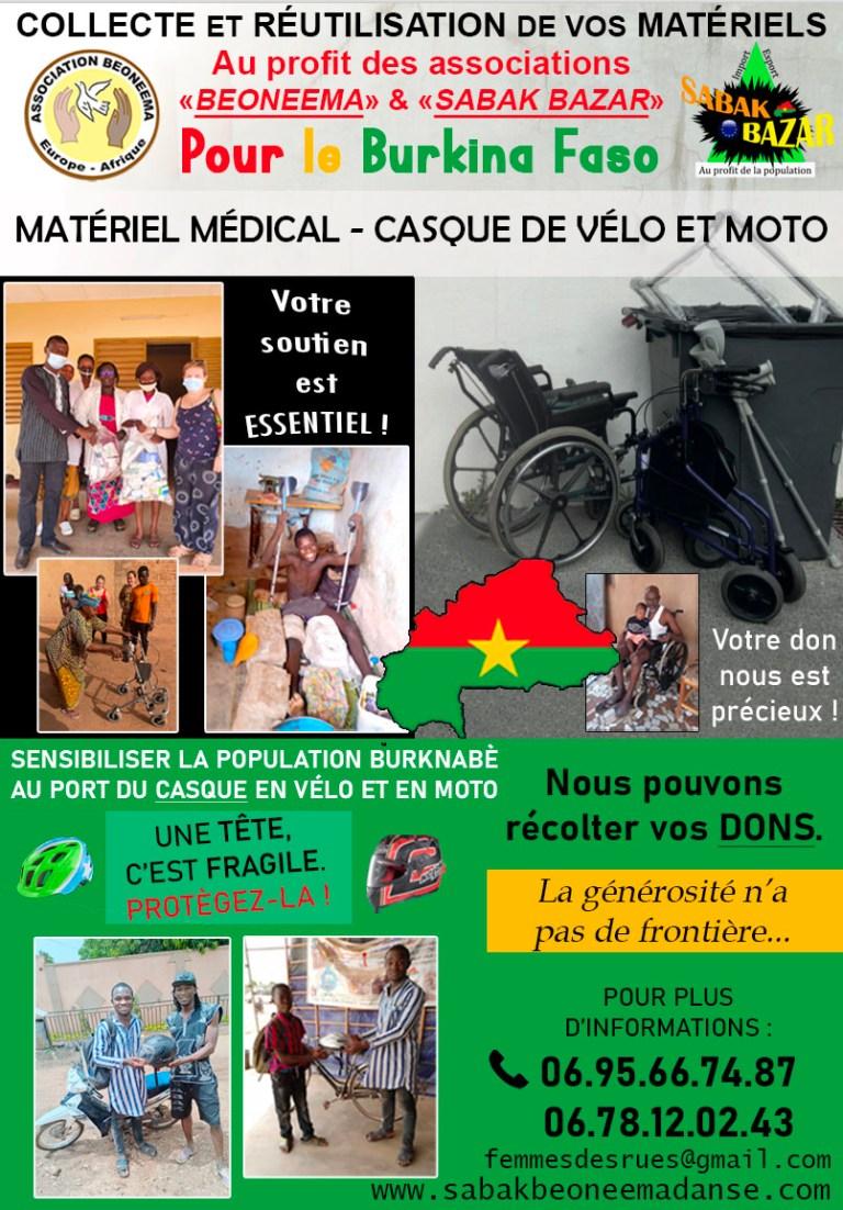 RÉCOLTE DE MATÉRIEL MÉDICAL ET CASQUE DE VÉLO ET MOTO