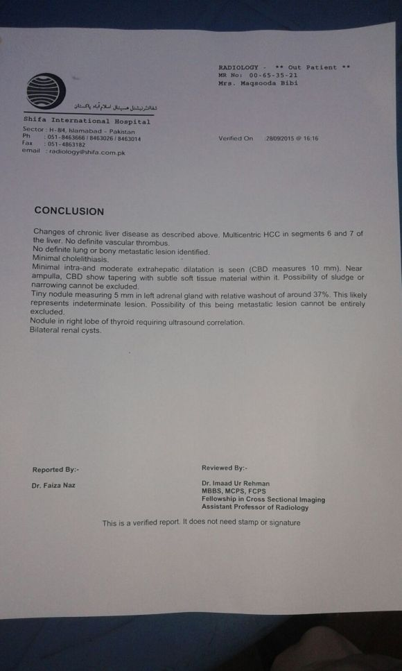 Medical Report of Liver Tumor Before Treatment 2