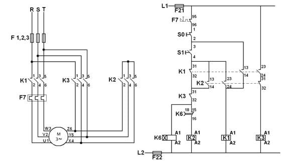 diagrama do motor de partida estrela triangulo