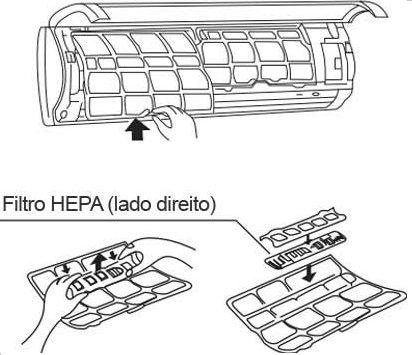 Retirando o conjunto Filtro HEPA Ar-Condicionado Split localizado do lado direito