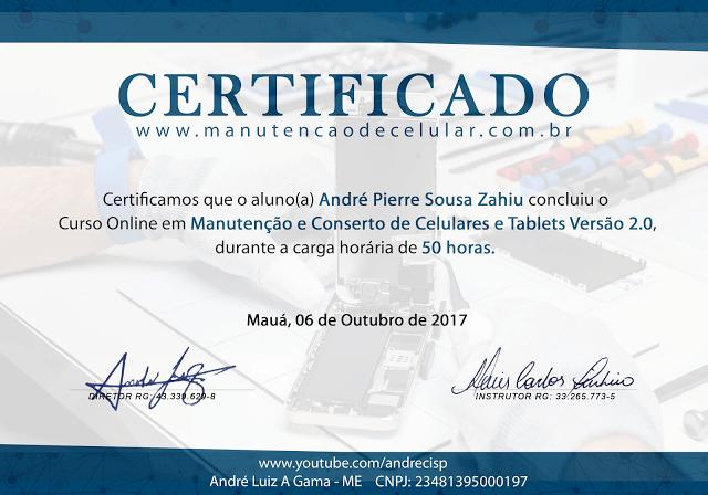 certificado de conclusão do curso de conserto de celular do André Cisp