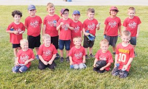 Members of the boys' Red T-ball team are FRONT ROW (L-R) Jackson Pease, Killion Reed, Tucker Keim, Kooper Morey and Isaiah Deters; BACK ROW (L-R) Van Feathers, Jacob Edie, Ruger Clements, Alex Weldin, Leo Lierz, Sutton Clements, Archie Keim and Vincent Asher.
