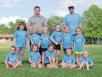 Members of the girls' Blue Jays T-Ball team are FRONT ROW (L-R) Ellie Otto, Aubrey Clements, Emery Hulsing, Addyson Edelman and Devyn Edelman; BACK ROW (L-R) Ava Clements, Dakota Lundergard, Etta Sheik, Finley Rose, Olivia Ross and Annie Otto. Coaches standing behind are Brian Lundergard and Pat Sheik.