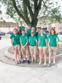 Nemaha County 4-H Ambassadors get ready for the Nemaha County Fair parade. Pictured are FRONT ROW (L-R) Leah Renyer, Ryan Uphaus. Brandon Rogers, Monica Stallbaumer and John Langill; MIDDLE ROW (L-R) Susannah Walker, Katie Tangeman, Karly Tangeman and Kendall Durland; BACK ROW (L-R) Davis Rokey and Dane Haverkamp.