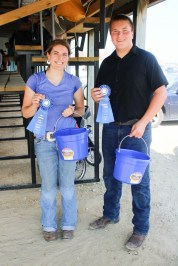 Leah Renyer, left, and Luke Renyer, right, are Senior and Intermediate Champion Goat Showmen.