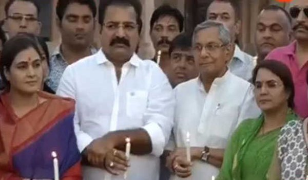 jaipur : congress holds on Candle march over kathua unnao rape cases