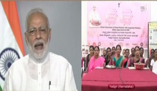 Narendra Modi interacts with ASHA, ANM and Anganwadi workers, underlines importance of welfare of women, children