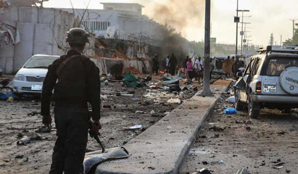 Suicide car bombers kill at least 22 in Somalia