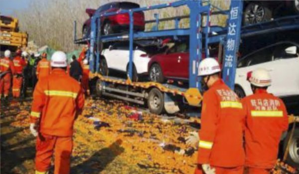 three killed in 28 truck pile up on central China highway during thick fog