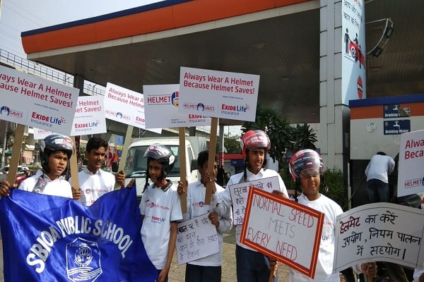 Exide Life Insurance - Helmet Saves Children campaign in Jaipur