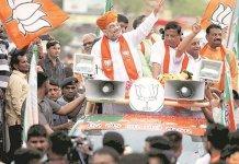 bjp president Amit Shah holds roadshow at deesa in gujarat