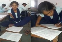छतरपुर में ममता पटेल का पढ़ाई का जुनून पैर से लिख कर दी परीक्षा