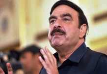 Eggs were thrown at Pakistan Railway Minister Sheikh Rashid in London