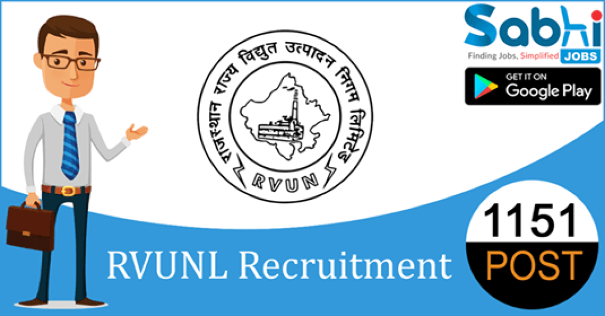 RVUNL recruitment 1151 Junior Engineer, Junior Chemist