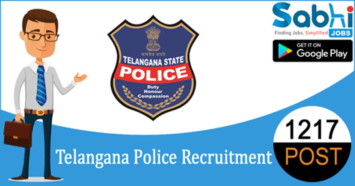 Telangana Police recruitment 1217 Sub Inspector of Police