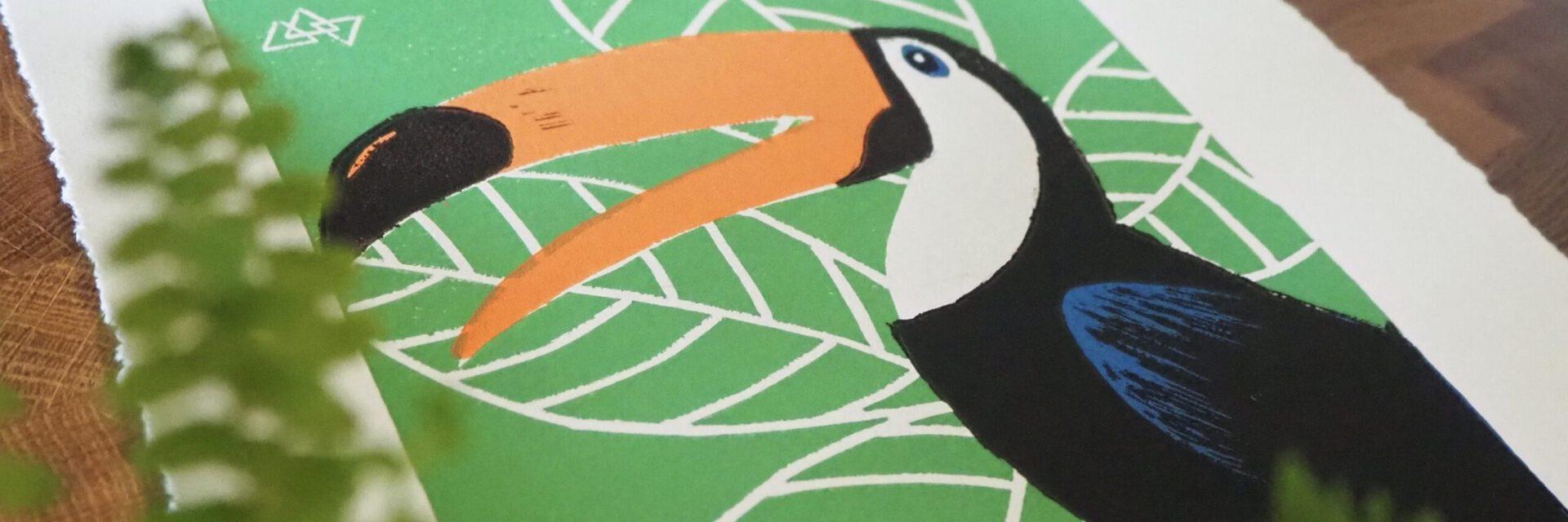 Oog – handgemaakte linosnede