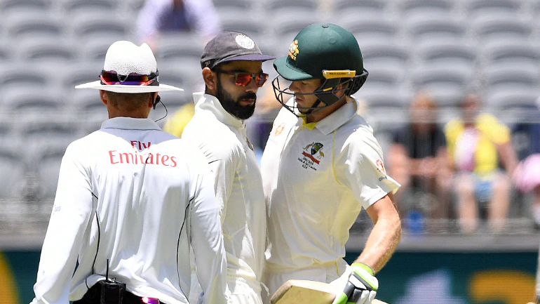 2ND TEST IND VS AUS VIRAT SLEDGING WITH TIM PAINE