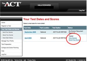 Act Scores Login