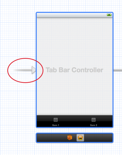 Arrow indicating initial view controller in Storyboard editor